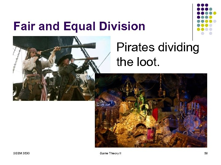 Fair and Equal Division Pirates dividing the loot. SEEM 3530 Game Theory II 58