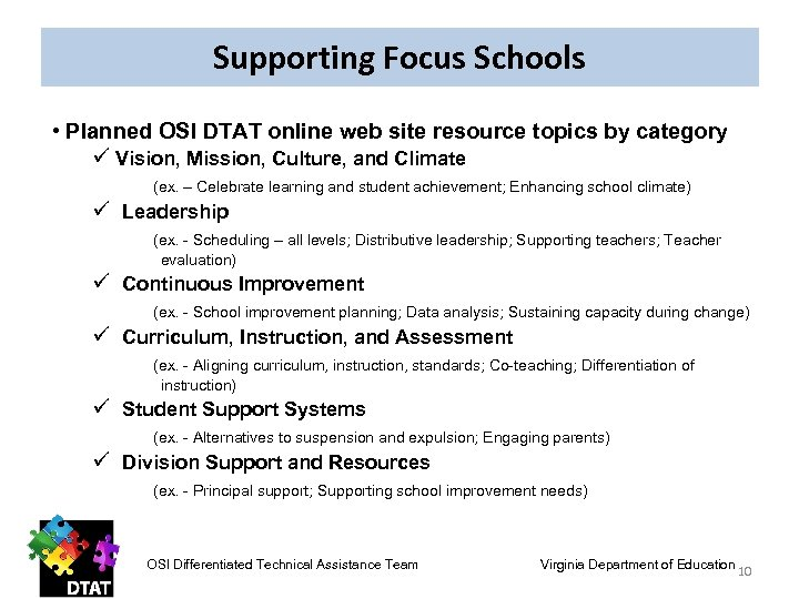 Supporting Focus Schools • Planned OSI DTAT online web site resource topics by category