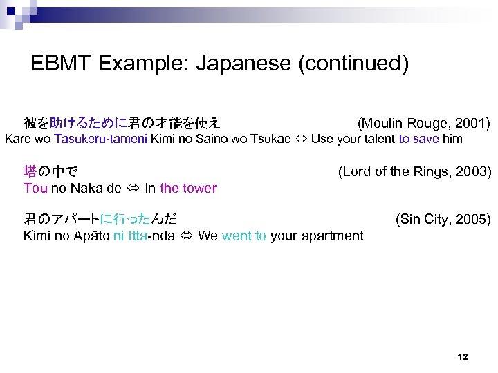 EBMT Example: Japanese (continued) 彼を助けるために君の才能を使え (Moulin Rouge, 2001) Kare wo Tasukeru-tameni Kimi no Sainō
