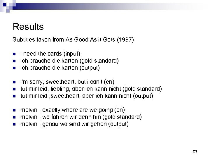 Results Subtitles taken from As Good As it Gets (1997) n n n n