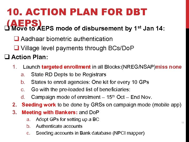 10. ACTION PLAN FOR DBT (AEPS) q Move to AEPS mode of disbursement by