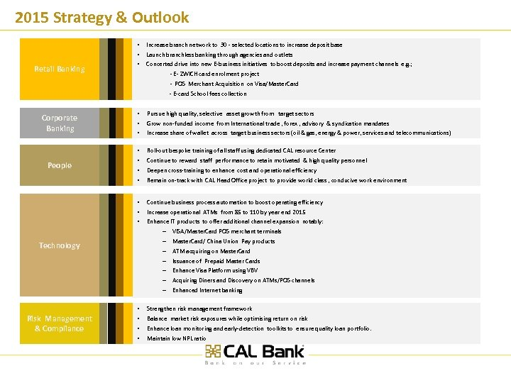 2015 Strategy & Outlook Retail Banking • • • Increase branch network to 30