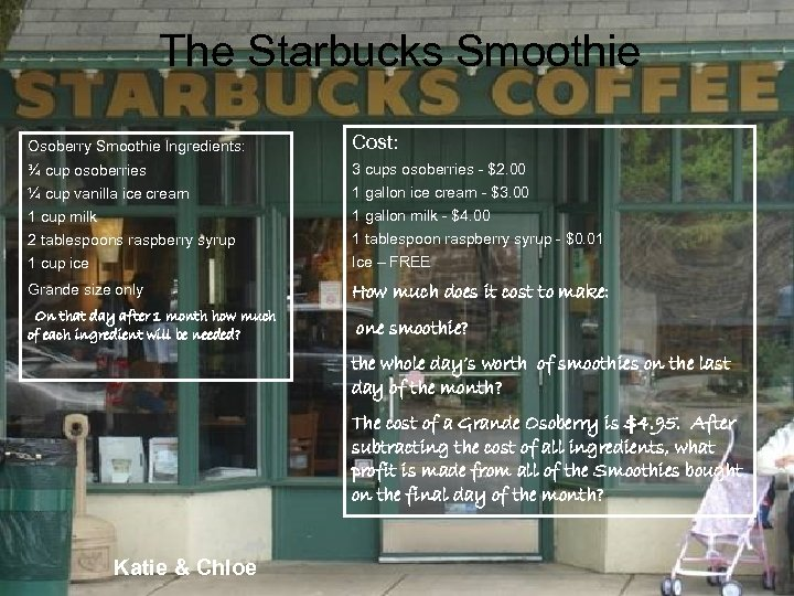 The Starbucks Smoothie Osoberry Smoothie Ingredients: Cost: ¾ cup osoberries ¼ cup vanilla ice