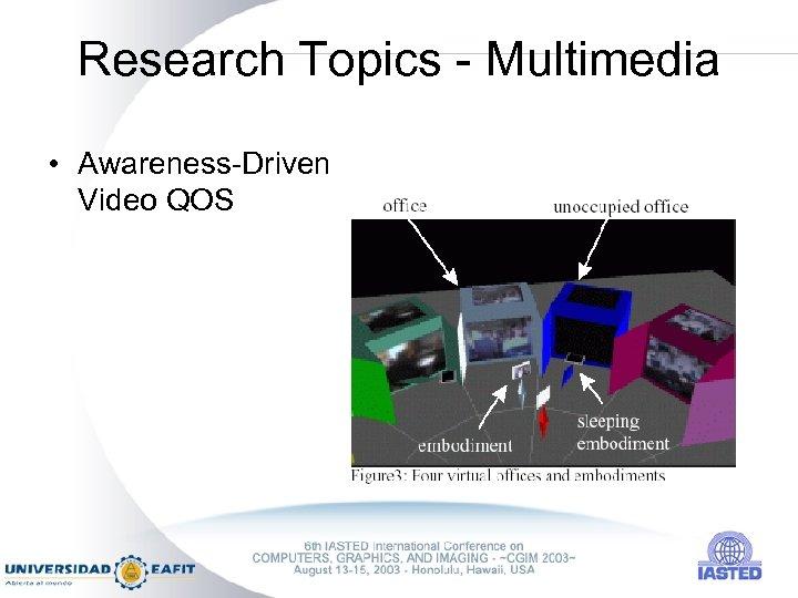 Research Topics - Multimedia • Awareness-Driven Video QOS
