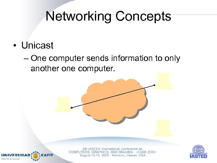 Networking Concepts • Unicast – One computer sends information to only another one computer.