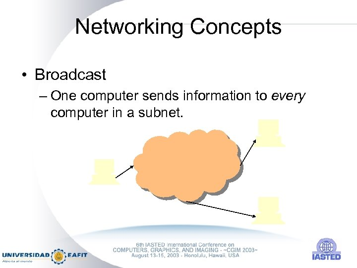 Networking Concepts • Broadcast – One computer sends information to every computer in a