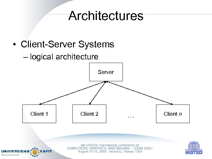 Architectures • Client-Server Systems – logical architecture Server Client 1 Client 2 … Client