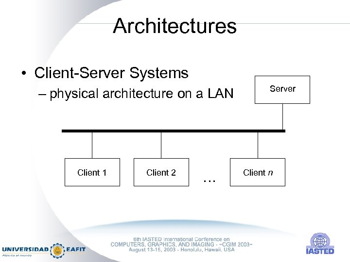 Architectures • Client-Server Systems – physical architecture on a LAN Client 1 Client 2