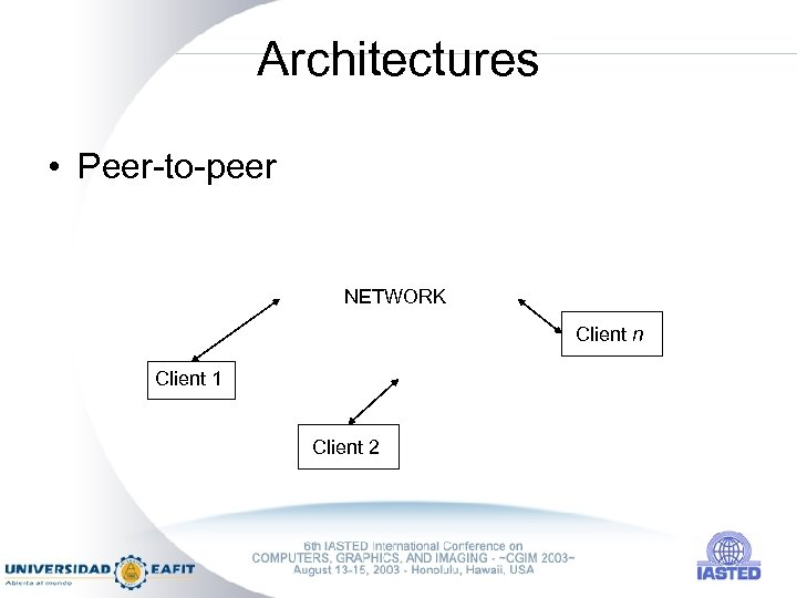 Architectures • Peer-to-peer NETWORK Client n Client 1 Client 2