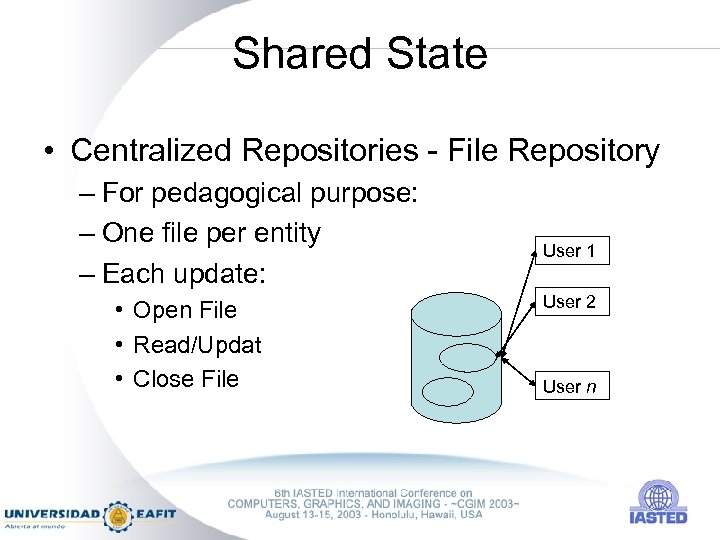Shared State • Centralized Repositories - File Repository – For pedagogical purpose: – One
