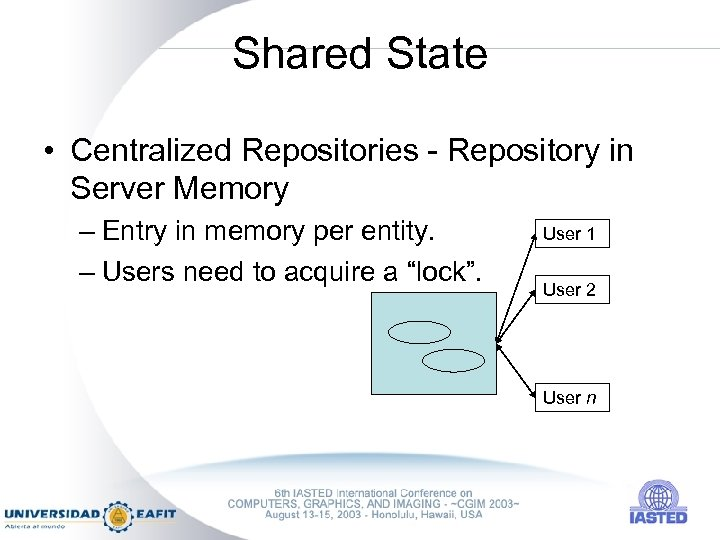Shared State • Centralized Repositories - Repository in Server Memory – Entry in memory