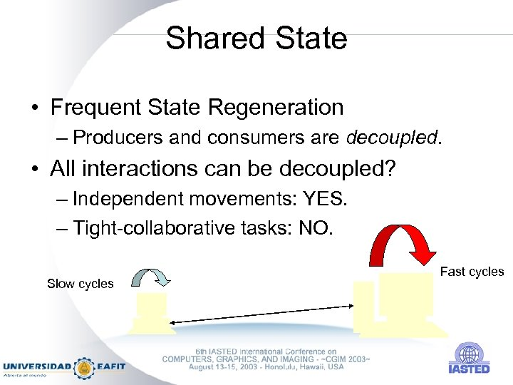 Shared State • Frequent State Regeneration – Producers and consumers are decoupled. • All