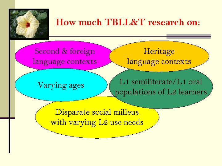 How much TBLL&T research on: Second & foreign language contexts Varying ages Heritage language