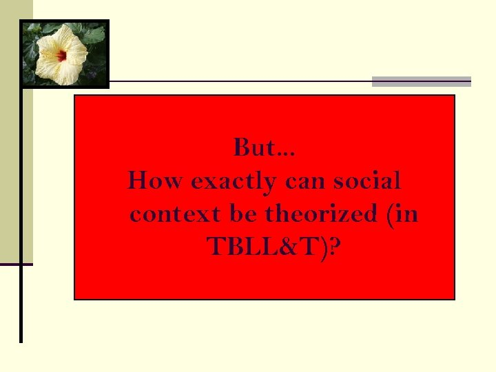 But. . . How exactly can social context be theorized (in TBLL&T)?