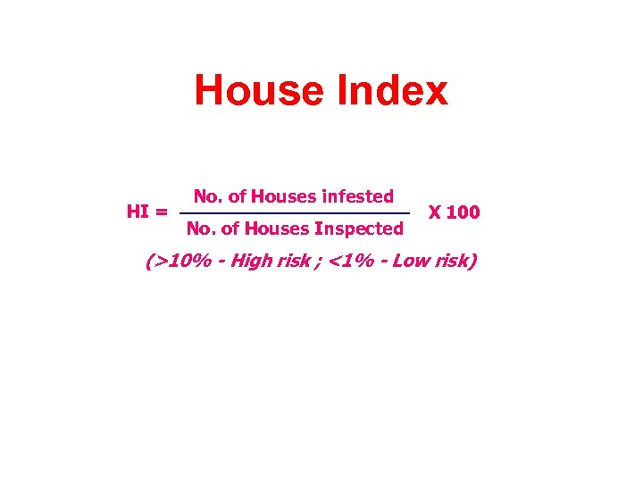 House Index HI = No. of Houses infested No. of Houses Inspected X 100