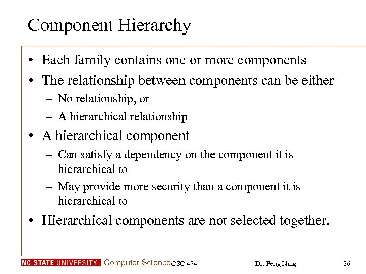 Component Hierarchy • Each family contains one or more components • The relationship between