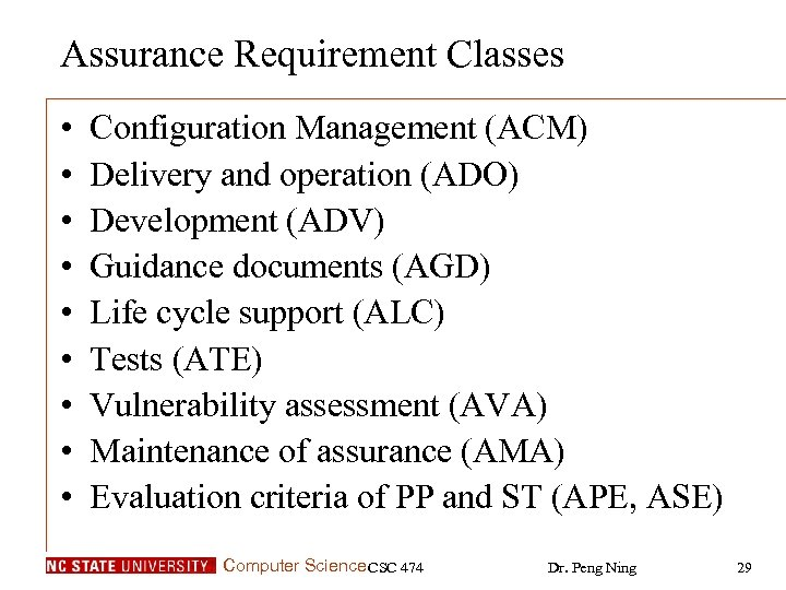 Assurance Requirement Classes • • • Configuration Management (ACM) Delivery and operation (ADO) Development