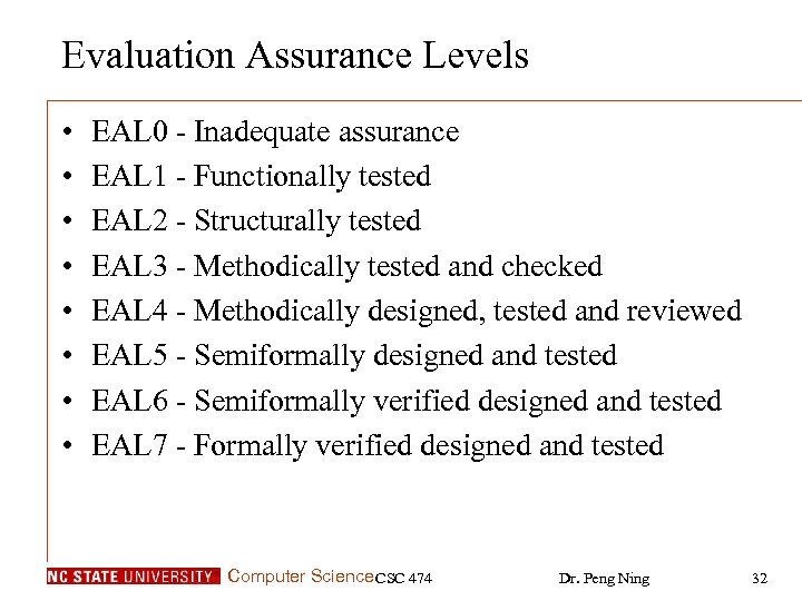 Evaluation Assurance Levels • • EAL 0 - Inadequate assurance EAL 1 - Functionally