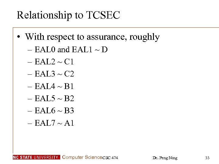 Relationship to TCSEC • With respect to assurance, roughly – EAL 0 and EAL