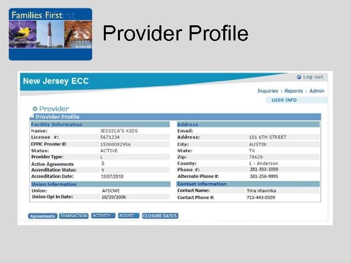 Provider Profile