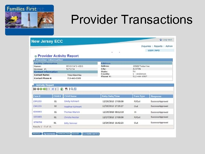 Provider Transactions