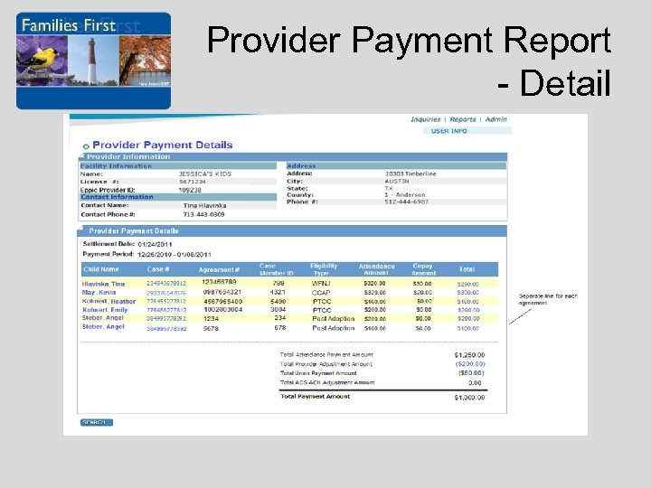 Provider Payment Report - Detail