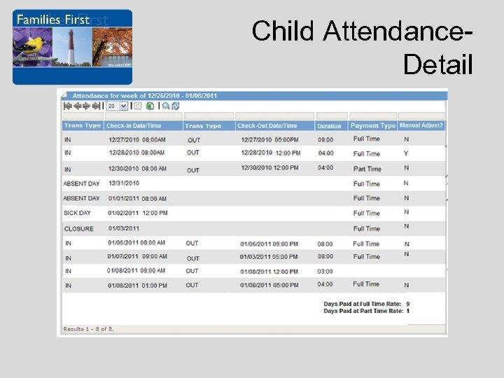 Child Attendance. Detail