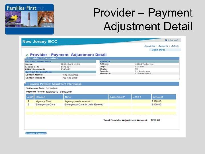 Provider – Payment Adjustment Detail