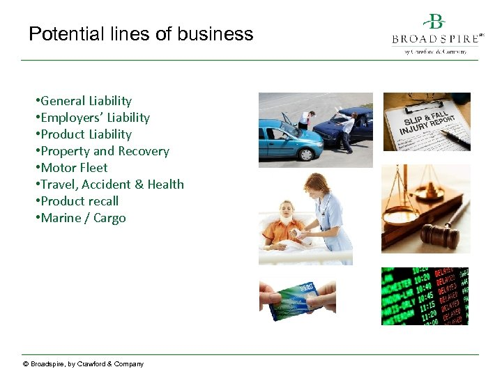 Potential lines of business • General Liability • Employers' Liability • Product Liability •
