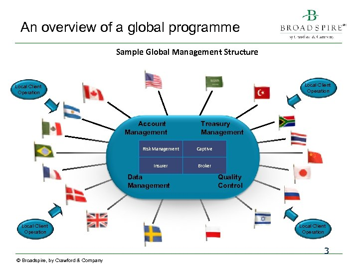 An overview of a global programme Sample Global Management Structure Local Client Operation Account