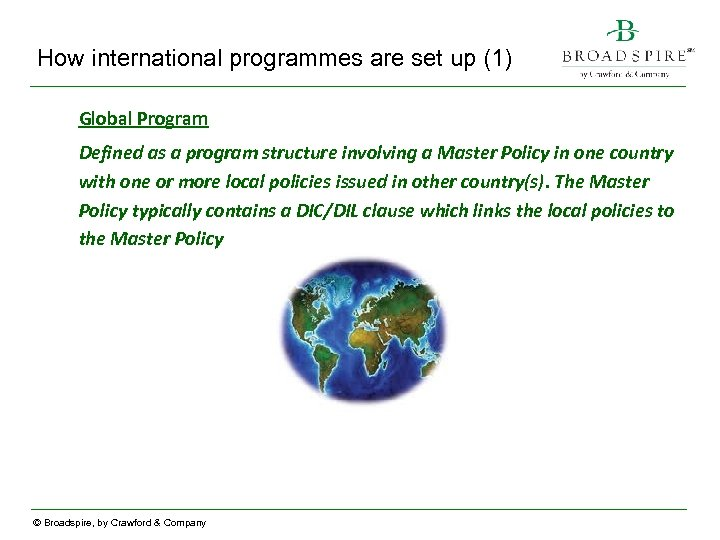 How international programmes are set up (1) Global Program Defined as a program structure