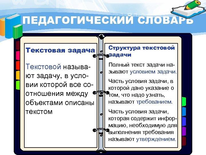 ПЕДАГОГИЧЕСКИЙ СЛОВАРЬ Текстовая задача Структура текстовой задачи Текстовой называют задачу, в условии которой все