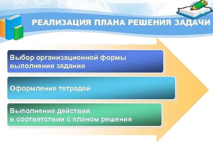 РЕАЛИЗАЦИЯ ПЛАНА РЕШЕНИЯ ЗАДАЧИ Выбор организационной формы выполнения задания Оформление тетрадей Выполнение действий в