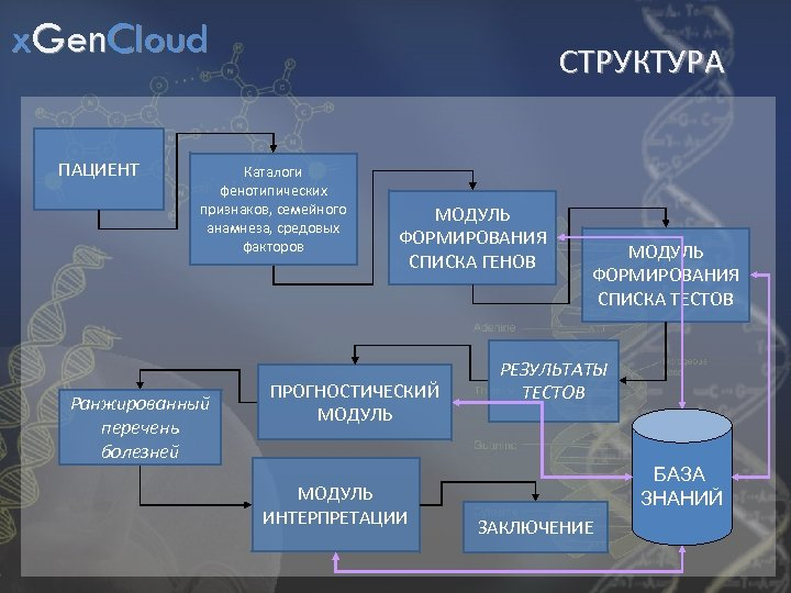 x. Gen. Cloud ПАЦИЕНТ СТРУКТУРА Каталоги фенотипических признаков, семейного анамнеза, средовых факторов Ранжированный перечень