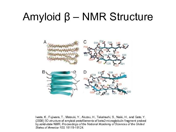 Amyloid β – NMR Structure Iwata, K. , Fujiwara, T. , Matsuki, Y. ,