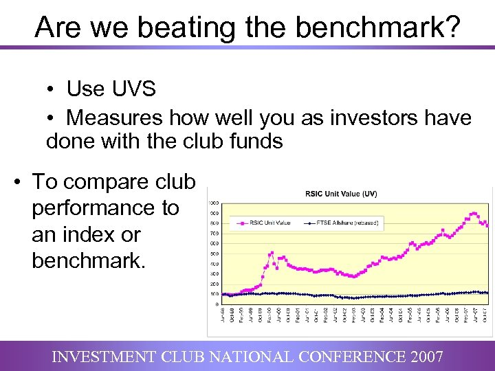 Are we beating the benchmark? • Use UVS • Measures how well you as