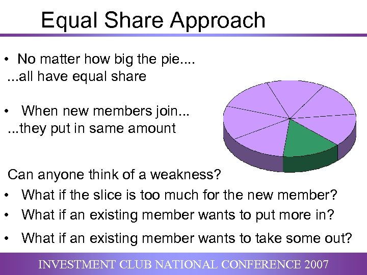 Equal Share Approach • No matter how big the pie. . . . all