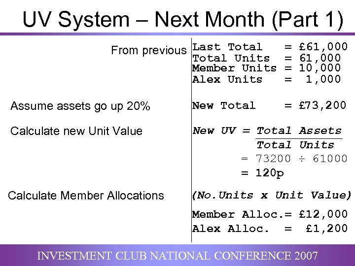 UV System – Next Month (Part 1) From previous Last Total Units Member Units