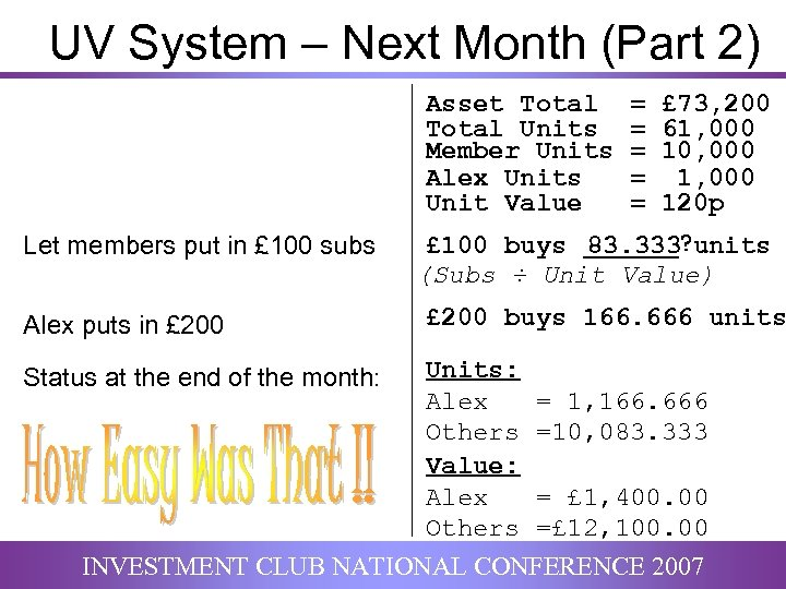UV System – Next Month (Part 2) Asset Total Units Member Units Alex Units