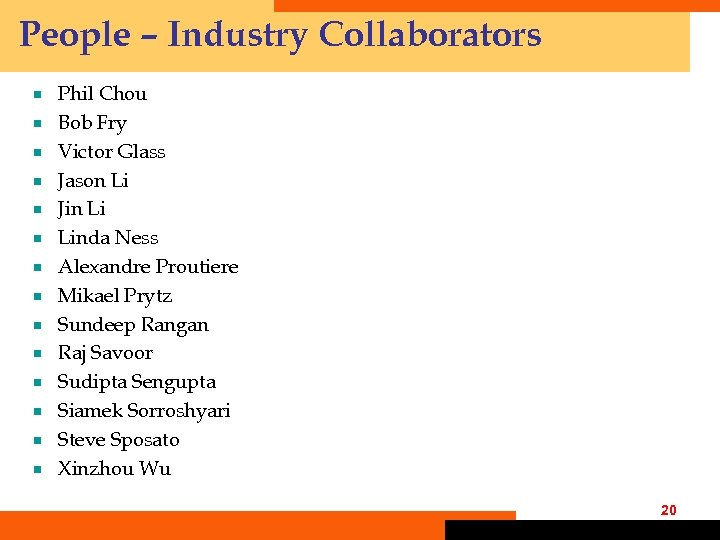 People – Industry Collaborators ¾ ¾ ¾ ¾ Phil Chou Bob Fry Victor Glass