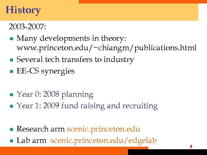 History 2003 -2007: ¾ Many developments in theory: www. princeton. edu/~chiangm/publications. html ¾ Several