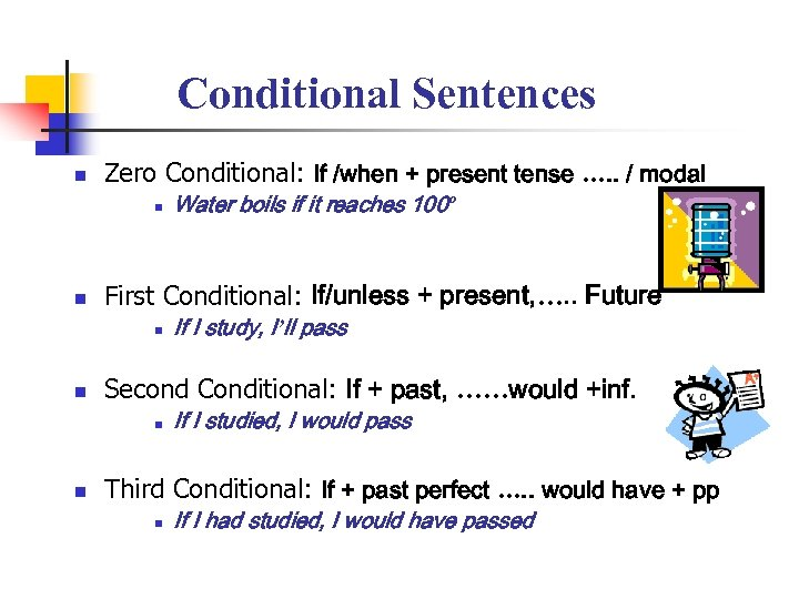Conditional Sentences n Zero Conditional: If /when + present tense …. . / modal