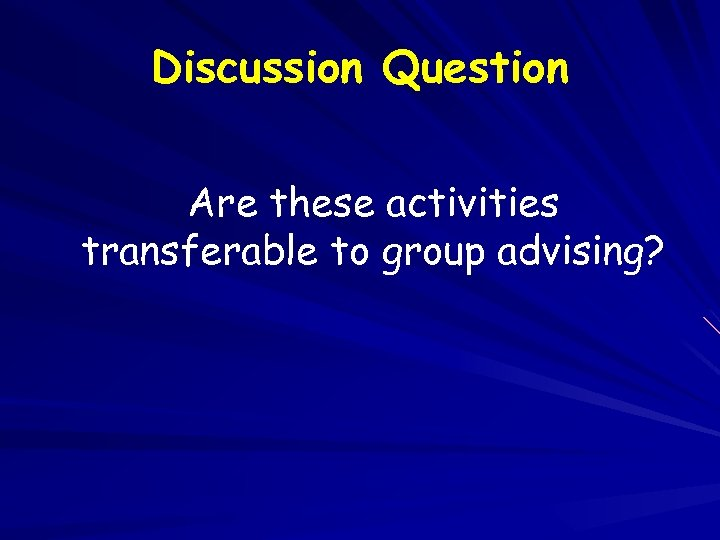 Discussion Question Are these activities transferable to group advising?