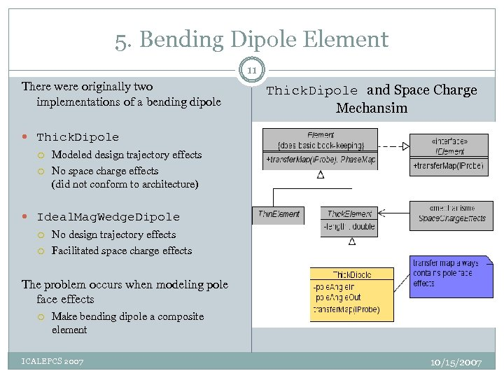 5. Bending Dipole Element 11 There were originally two implementations of a bending dipole