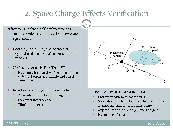 2. Space Charge Effects Verification 7 After exhaustive verification process online model and Trace