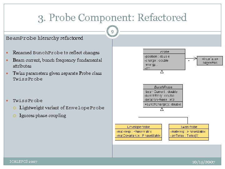 3. Probe Component: Refactored 9 Beam. Probe hierarchy refactored Renamed Bunch. Probe to reflect
