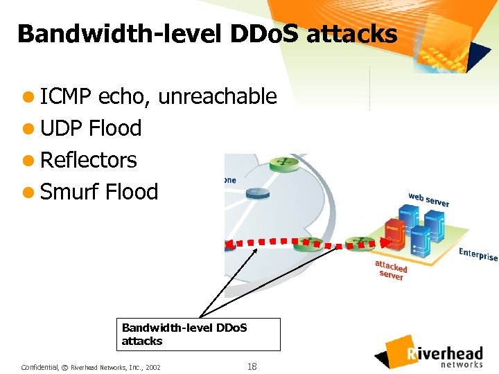 Bandwidth-level DDo. S attacks l ICMP echo, unreachable l UDP Flood l Reflectors l