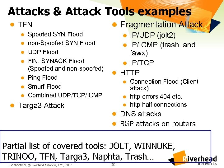 Attacks & Attack Tools examples l TFN l Spoofed SYN Flood l non-Spoofed SYN