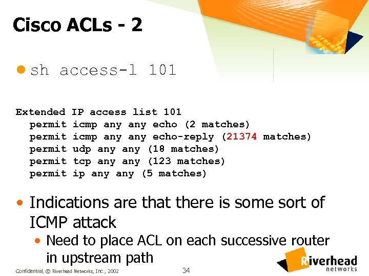 Cisco ACLs - 2 l sh access-l 101 Extended permit permit IP access list