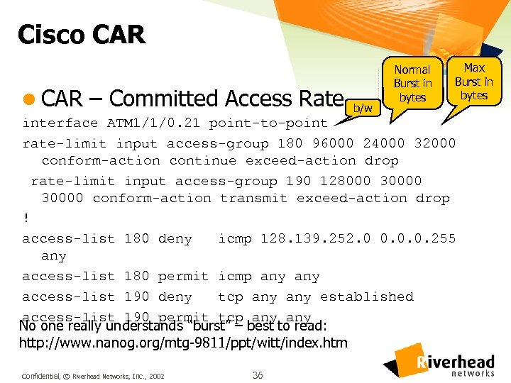 Cisco CAR l CAR – Committed Access Rate b/w Normal Burst in bytes Max